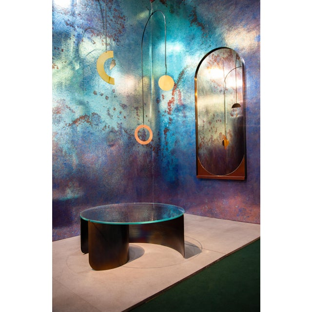 Contemporary Blackened Steel and Patinated Bronze Slip Mirror in Peach For Sale In New York - Image 6 of 6