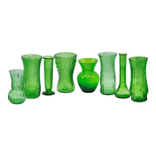 Emerald Green Glass Vases - Set of 8 For Sale
