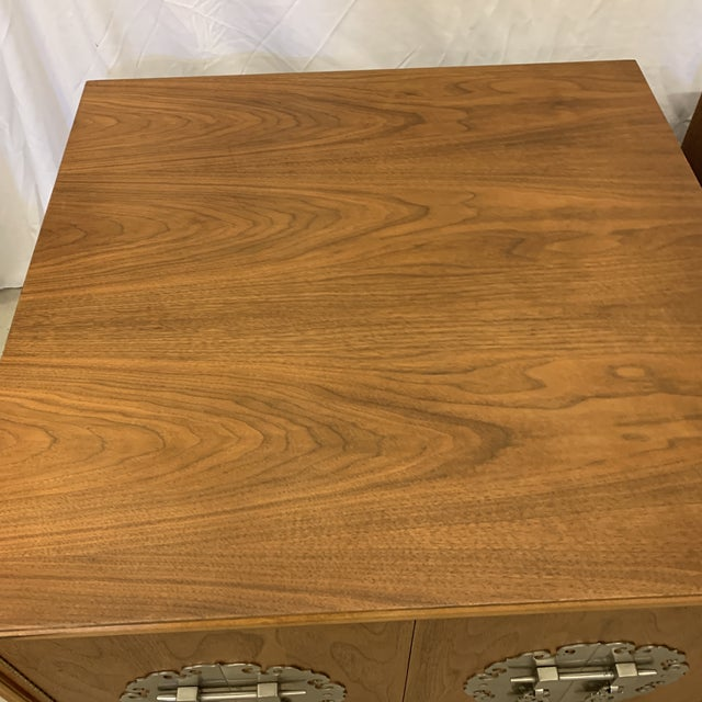Solid Walnut Asian Chest End Tables -A Pair For Sale In Richmond - Image 6 of 11