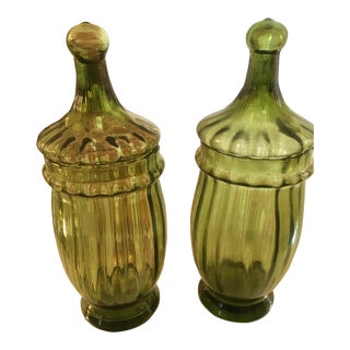 Vintage Italian Glass Candy Jars - A Pair For Sale