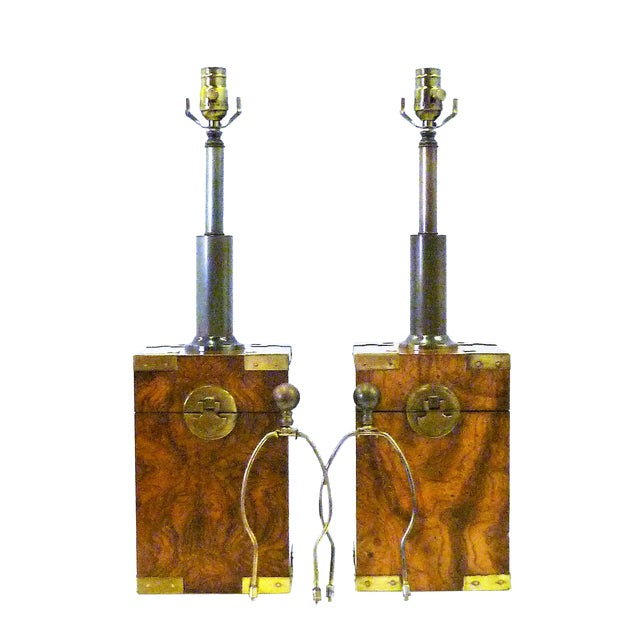 1970s Campaign Style Burl Wood Faux Tea Box Table Lamps - a Pair For Sale