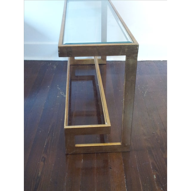 Contemporary Gilt Metal and Glass Console - Image 3 of 6