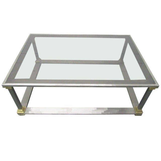 Aluminum Brushed Steel and Brass Coffee Table For Sale - Image 7 of 7