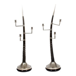 Large Oryx Horn Three-Arm Candelabra - A Pair For Sale