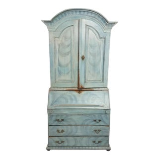 Antique 18th C Blue Paint Decorated French Country Secretary Desk For Sale