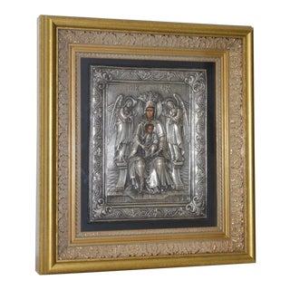Greek Byzantine Madonna & Child Sculptural Relief 20th C. For Sale