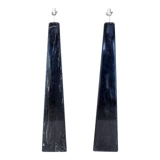 Pair of Black Marble Obelisk Shape Floor Lamps For Sale