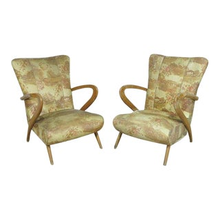 Pair of Italian Mid-Century Modern Zanuso Style Boomerang Arm Club Chairs For Sale