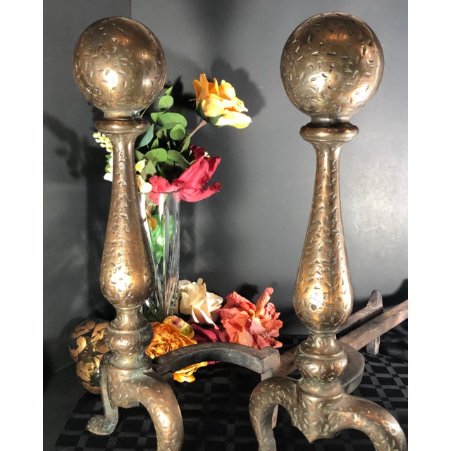 Gold 1920s Antique Early American Brass Cannonball Hand Hammered Andirons - a Pair For Sale - Image 8 of 12