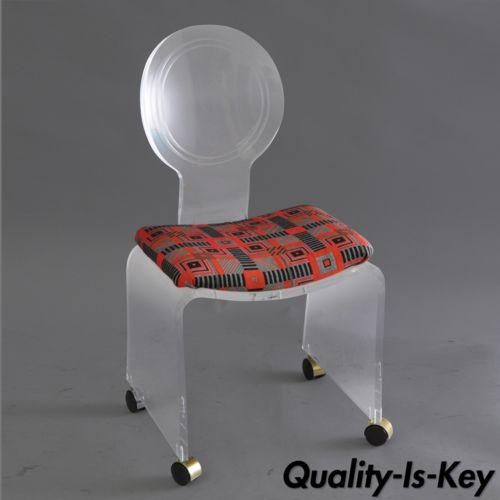 Hill Mfg. Lucite Vanity Chair Round Back Rolling Casters Mid Century Modern Vintage For Sale - Image 11 of 11