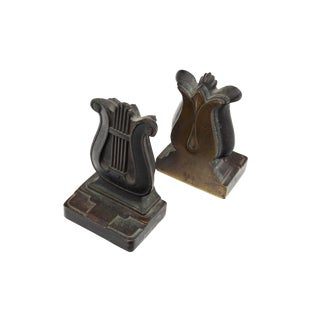Art Deco Bronze Lyre Bookends For Sale
