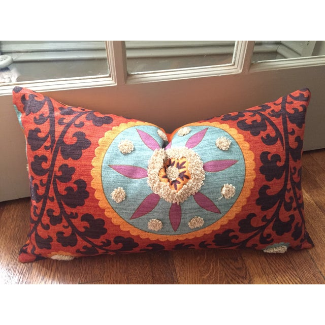Bohemian Embroidered Orange Pillow Cover - Image 3 of 9