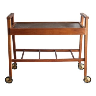 Vintage 1960s Danish Style Teak Bar Cart on Wheels For Sale