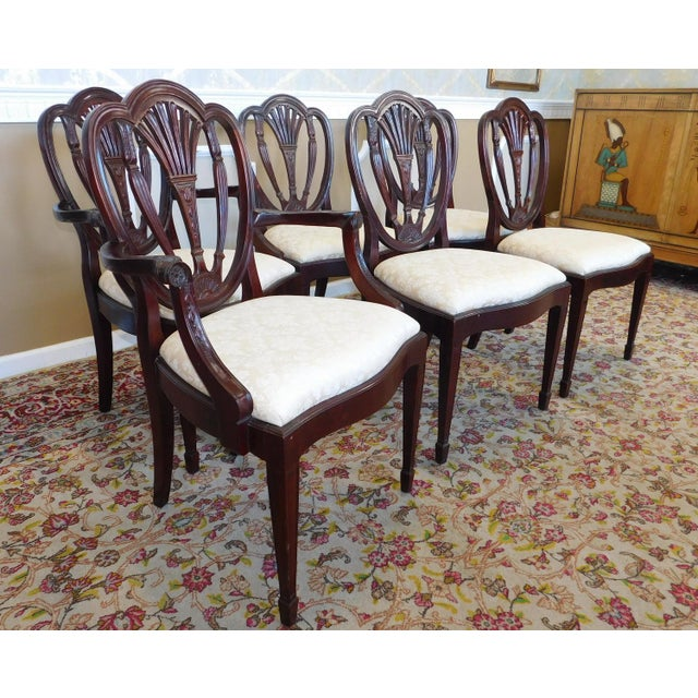 Hickory White Shield Back Mahogany Sheraton Style Dining Room Chairs ...