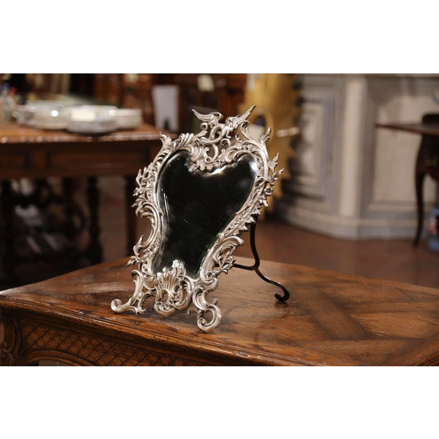 19th Century French Louis XV Silvered Bronze Free Standing Vanity Table Mirror For Sale In Dallas - Image 6 of 10