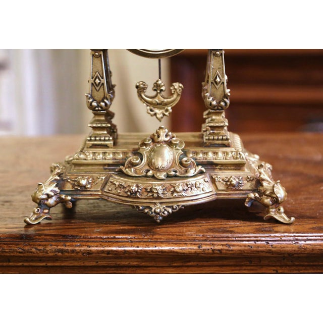 Metal 19th Century French Louis XV Rococo Gilt Bronze Mantel Clock With Cherubs For Sale - Image 7 of 13