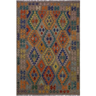 Contemporary Kilim Aretha Brown/Blue Hand-Woven Wool Rug - 5'0 X 6'6 For Sale