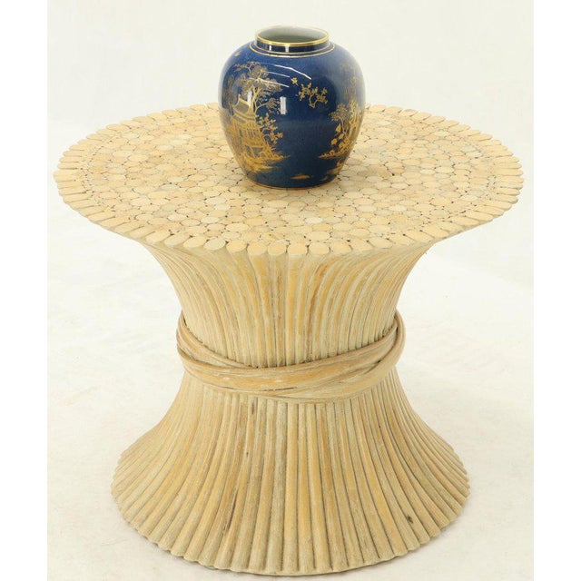 Brown Pair of Sheaf of Bamboo Wheat Side End Occasional Tables Pedestals by McGuire For Sale - Image 8 of 10