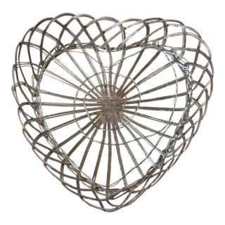 Vintage Silver-Plate Heart Shaped Basket For Sale