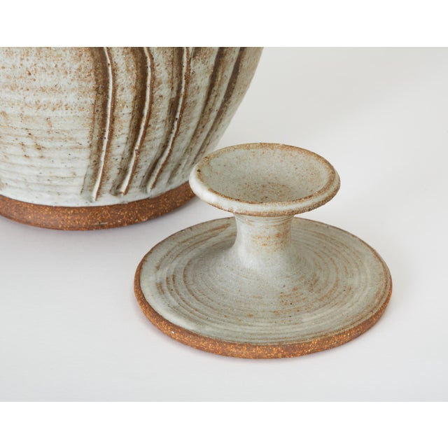 California Modern Incised Studio Pottery Vessel With Lid by Don Jennings For Sale - Image 11 of 13
