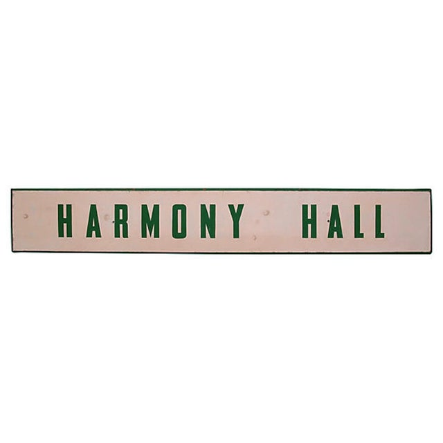 Harmony Hall Sign For Sale