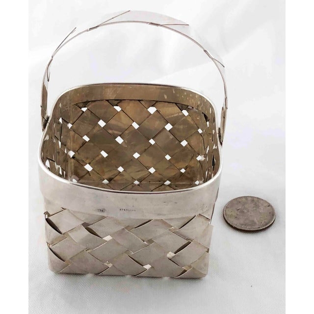 Silver Vintage Sterling Silver Woven Basket With Handle For Sale - Image 8 of 9