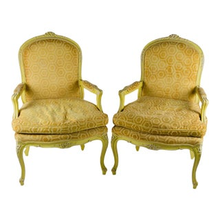 Early 20th Century French Louis XV Style Yellow Upholstered Side Armchairs - A Pair For Sale