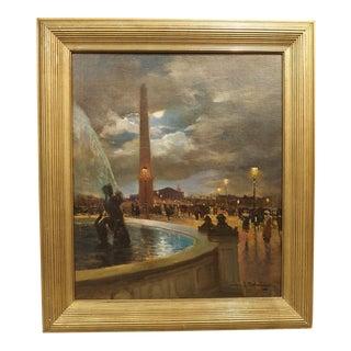 """""""Evening at La Place De La Concorde, Paris"""" Painting by Paul Balmigere (1882-1953) For Sale"""
