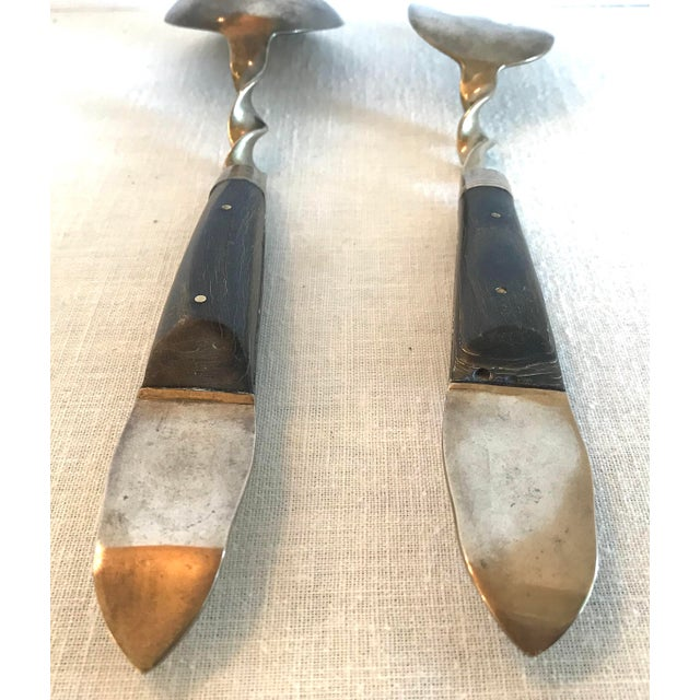 Vintage Brass and Rosewood Serving Set For Sale - Image 10 of 11