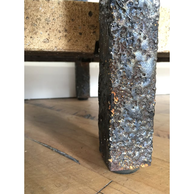 Minimalist Brutalist Fused Bronze, Iron and Concrete Patio Table Base - Image 5 of 10