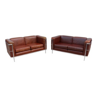 1980s Vintage Jack Cartwright Le Corbusier LC2 Style Loveseats - A Pair For Sale