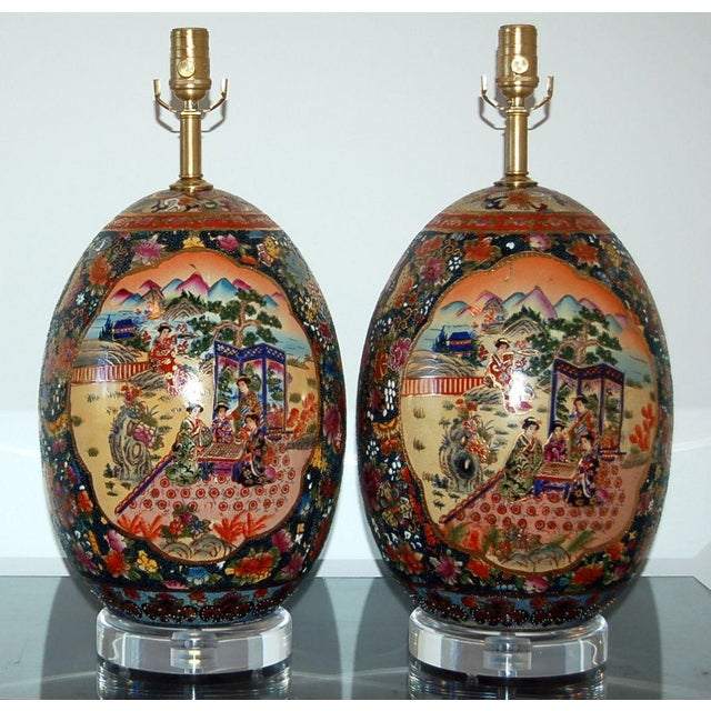 Stylish vintage Satsuma painted egg table lamps, both bold and colorful. The egg shell is extremely thick, indicative of...