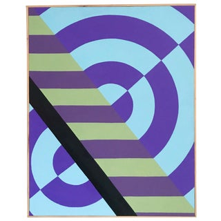 Colorful Hard Edge Abstract Op Art Painting on Canvas by J. Marquis For Sale