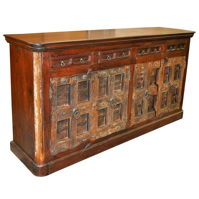 Farmhouse Antique Spanish Colonial Rustic Door Cabinet Buffet For Sale - Image 3 of 3
