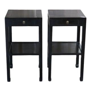 Black Lacquer Elm Tea Tables - a Pair For Sale