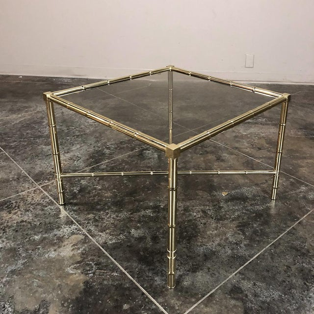 Mid Century Brass Smoked Glass Top End ~ Coffee Table For Sale In Dallas - Image 6 of 12