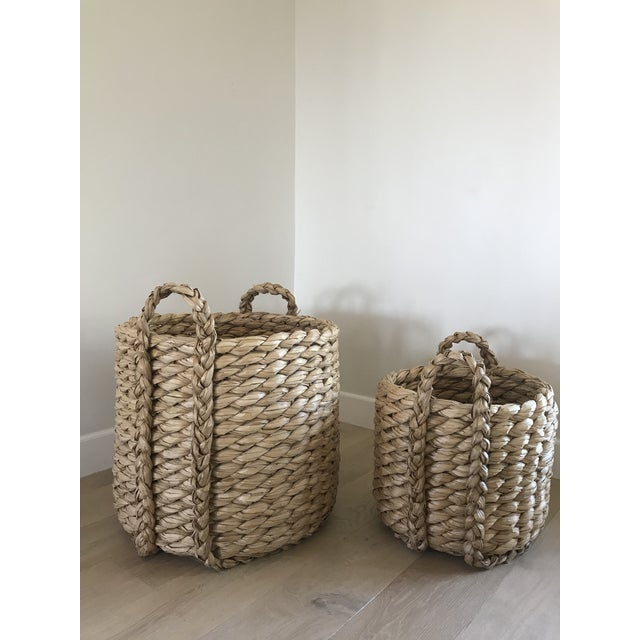 Textile Raquel Round Baskets - A Pair For Sale - Image 7 of 8