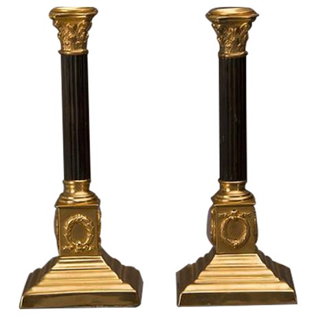 19th Century Empire Style Bronze Doré And Patinated Bronze Candlesticks - A Pair For Sale