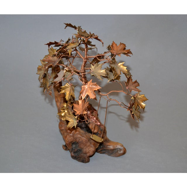 Whimsical Organic Modern handcrafted Bonsai Tree Sculpture in Brass, Copper, Bronze on a Burl Wood Base. Note the details...