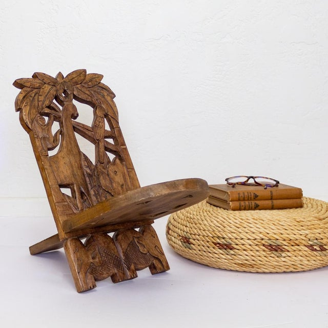 African Childs Hand Carved African Chair | Two Piece Palaver Camp Chair For Sale - Image 3 of 11