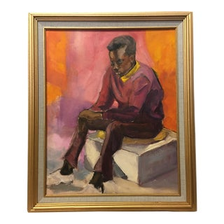 Vintage Mid-Century Portrait Oil on Canvas Panel Painting by Dolores Pharr Smith (D'Pharr), Framed For Sale