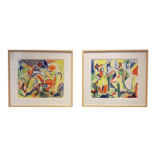 Colorful Watercolor Paintings of Dancing Figures by Artist Jacques Lamy - a Pair For Sale