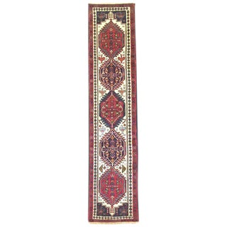 Vintage Persian Hand Knotted Geometric Ardabil Runner Rug For Sale