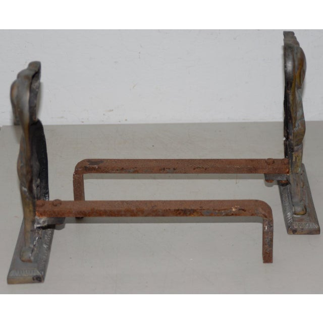 """Gold 19th Century Cast Iron """"Shorthaired Pointer"""" Andirons C.1880s - a Pair For Sale - Image 8 of 9"""