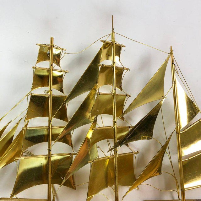 Gold Vintage Mid-Century Brass Ship Figurine For Sale - Image 8 of 10