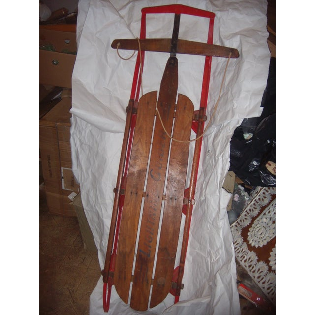 Lodge Antique Lightning Glider Wood & Iron Sled For Sale - Image 3 of 6