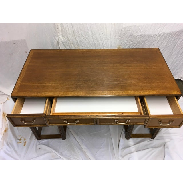 Gold McGuire Oak and Rattan Desk For Sale - Image 8 of 10