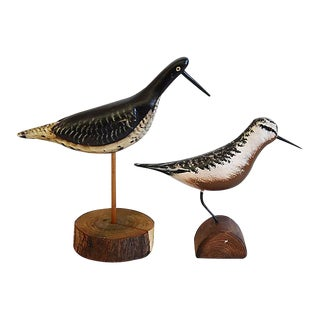 Vintage Hand Crafted Shorebird Decoys - Set of 2