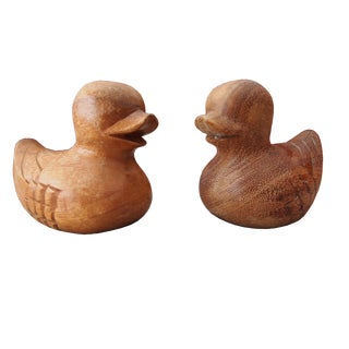 Carved Asian Hardwood Ducks - A Pair