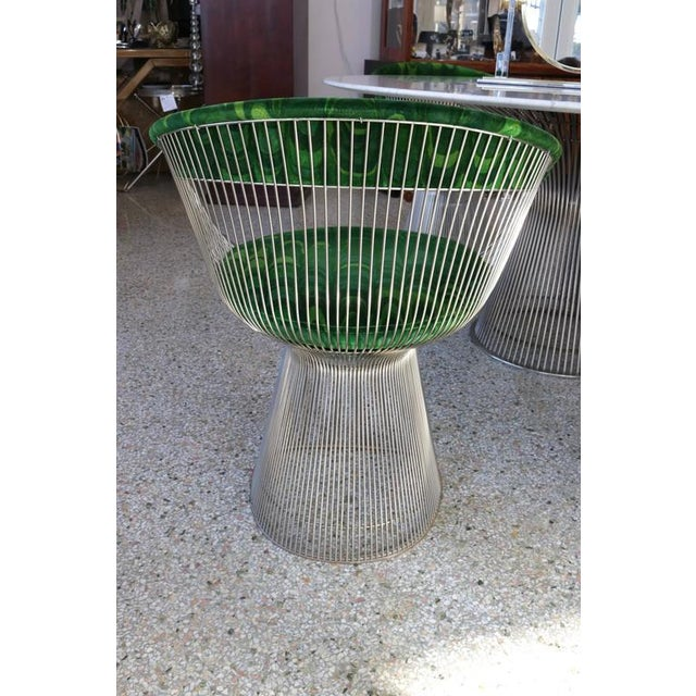 Carrara Marble 1970s Warren Platner for Knoll Marble Table With Chairs in Jack Lenor Larsen Fabric For Sale - Image 7 of 10